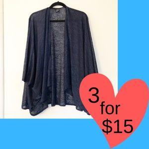 Cejon One Size Open Front Cardigan Sweater Blue 59